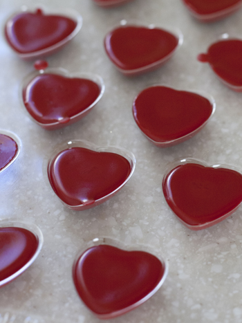 red crayon hearts in mold