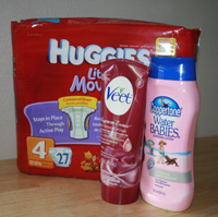 huggies, coppertone, veet