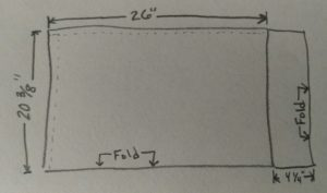 crude sketch of measurements.