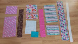 All the pieces laid out around my pattern.